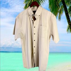 Denver Hayes Tan Casual Button Up Shirt LG